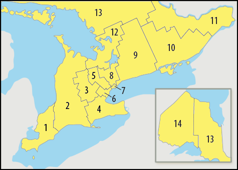 Map of Ontario's LHIN regions